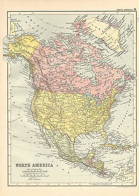 1901 Large Victorian  Map- North America