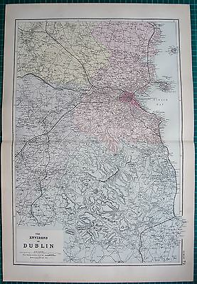 1892 Large Victorian  Map- Environs Of Dublin