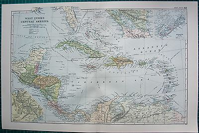 1901 Large Victorian  Map-West Indies,insets,bermuda,panama,nicaragua