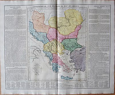 1829 Antique Map- Lavoisne- Geographical And Statistical Map Of Greece