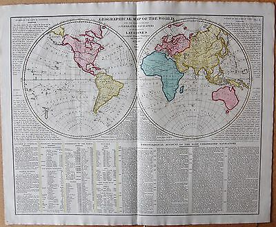 1829 Antique Map- Lavoisne-World In Hemispheres-Celebrated Navigators