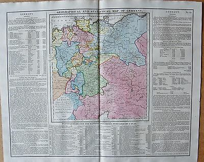 1829 Antique Map- Lavoisne-Geographical And Statistical Map Of Germany