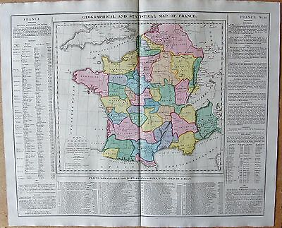 1829 Antique Map- Lavoisne-Geographical And Statistical Map Of France