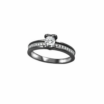 Classic Half Bezel Solitaire Dazzling Wedding Ring Round CZ Sterling Silver