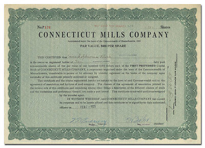 Connecticut Mills Company Stock Certificate