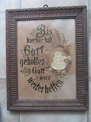 altes Bild  Spruchbild Stickerei Jugendstil um 1900