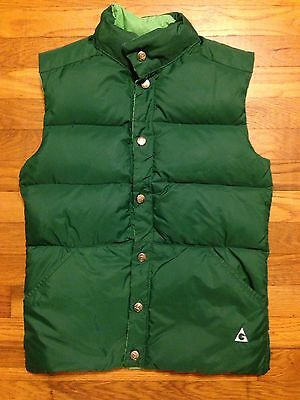 Gerry Vintage Down Filled Puffer Puffy Reversible Ski Snow Vest Green USA Made!!