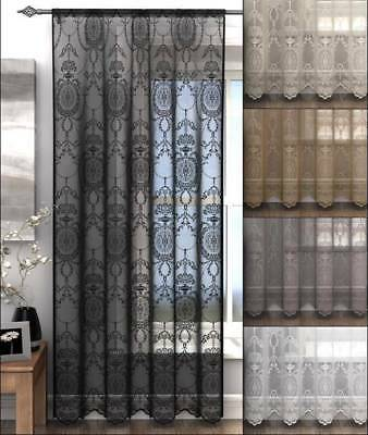HOLLY VOILE Panel Net Lace Curtain Slot Top Heading Damask Design