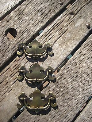 "Vintage 3 1/2"" * KBC * Drawer Cabinet Brass Heavy Duty Bail Pull Set of 3 USA"
