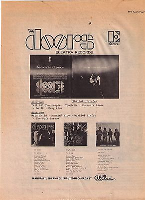"""1968 The Doors Record Album Collection """"The Soft Parade"""" Print Advertisement"""