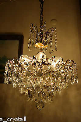 Antique Vnt. French HUGE SPIDER Style Crystal Chandelier Lamp Light 1940's 18 in