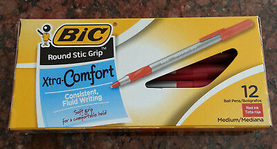 Bic XTRA-COMFORT Round Stick Grip Ball Point Pens, 12-pk. RED INK Medium