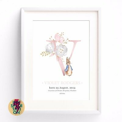 Personalised Peter Rabbit Baby Name Print / Christening Gift / Nursery New Baby