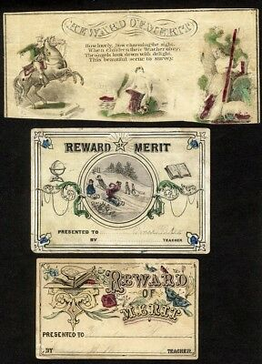 REWARD OF MERIT Victorian Cards 1860-70's Hand Colored GEORGE WASHINGTON Child