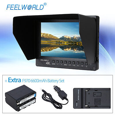 """Feelworld A737 7"""" HD IPS LCD Monitor 1920x1200 with NP-F970 6600mAh Battery Set"""