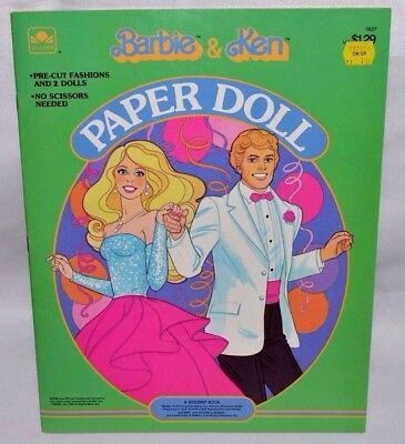 NEW-1984 GOLDEN BOOK-BARBIE &/and KEN PAPER DOLL BOOK-2 DOLLS+12 FASHIONS & ACC.