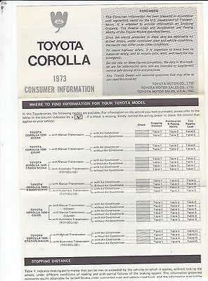 Vintage 1973 Toyota Corolla Consumer Information & Service Manual Order Form
