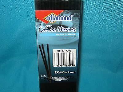 "Nib New In Box Diamond 7"" Black Cocktail / Coffee Heavy Duty Stirrers 250 Count"