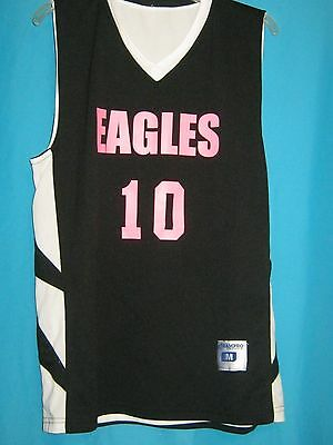 26ff30d24 Nwt Champro Sports Basketball Jersey Black Pink Eagles #10 Adult Medium Dri- Gear