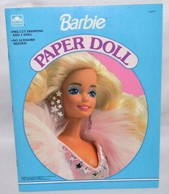 New-1991 Golden Book-Barbie Paper Doll Book-1 Dolls+13 Fashions & Access. +Stage