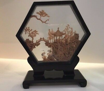 Vintage Chinese San You Handcarved Cork Art in Glass Case Pagoda Diorama Storks