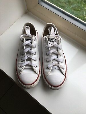 Boys girls Converse white leather trainers size 3 0822e9cb9