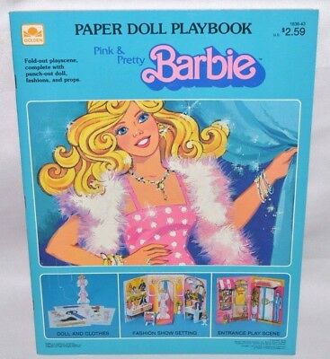 New-1983 Golden Book-Barbie Pink & Pretty Paper Doll Playbook W/ Playscenes+More