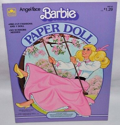 New-1983 Golden Book-Barbie Angel Face Paper Doll-1 Doll+18 Fashions & Access. +