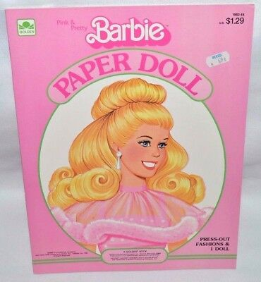 New-1983 Golden Book-Barbie Pink &/and Pretty Paper Doll-1 Doll+17 Fashions+Case