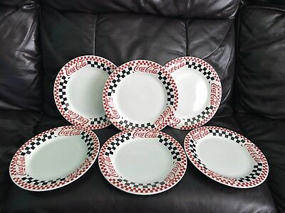 Set of 6 Coca Cola Red & Black Checkered Plates Gibson Dinnerware 1996/97