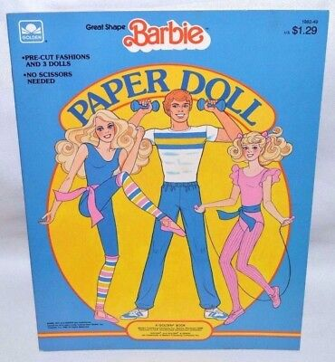 New-1985 Golden Book-Barbie, Skipper, Ken Great Shape Paper Dolls-+12 Fashions!