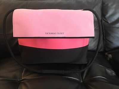 Victoria Secret Pink/Black Colorblock Cooler Insulated Lunch Box/Beach Tote