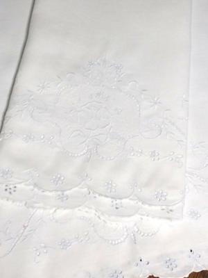 Vintage Linen Madeira Pillowcase Set Embroidered Florals Cut Work Lace 20.5x35