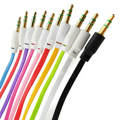 Lot 3.5mm Male to Male Flat Car Stereo Audio Auxiliary AUX Cable Cord For MP3 PC