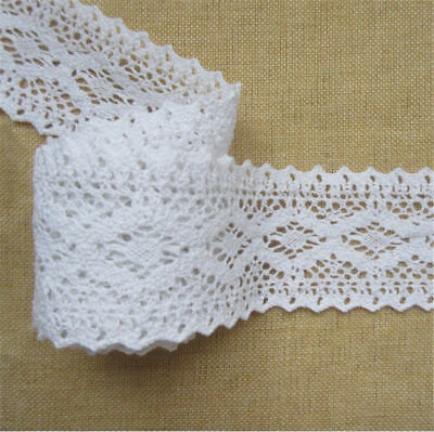 1yd Vintage Cotton Crochet Lace Trim Ribbon Embroidered Appliques Sewing Craft