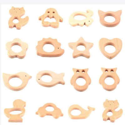 Pop Safe Natural Wooden Animal Shape Ring Baby Teether Teething Toy Shower Gift