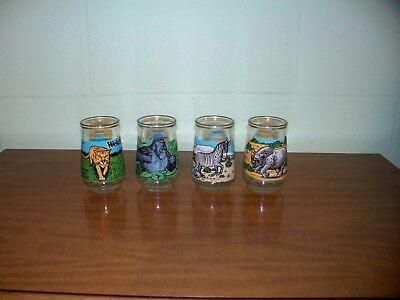 Set Of 4 Welch's Jelly Glasses Endangered Species Collection