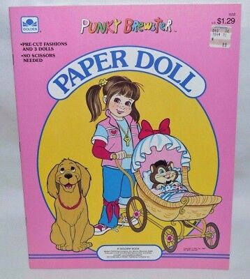 New-1986 Golden Book-Punky Brewster Paper Dolls-3 Dolls +25 Fashions +Carriage