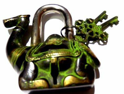 Camel Shape Brass Handcrafted Antique Vintage Repro Padlock With Unique Keys