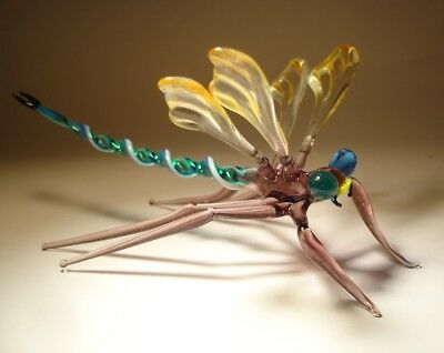 "Blown Glass ""Murano"" Figurine Gorgeous Peach & Clear with Blue Eyes DRAGONFLY"