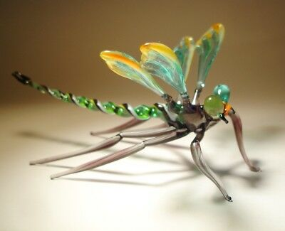 "Blown Glass ""Murano"" Figurine Gorgeous Green & Orange DRAGONFLY"
