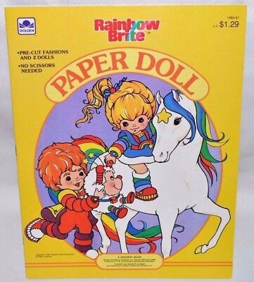 New-1986 Golden Book-Rainbow Brite Paper Dolls-4 Dolls +17 Fashions-Horse +Twink