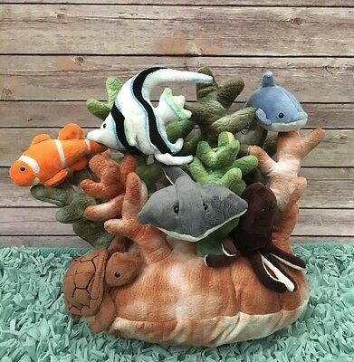 F.A.O Schwarz Coral Reef Habitat 6 Sea Creatures Stuffed Animal