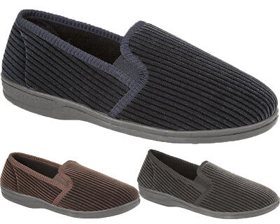 New Mens Comfortable Striped Cord Slippers Designer Twin Gusset Indoor Shoes Sz