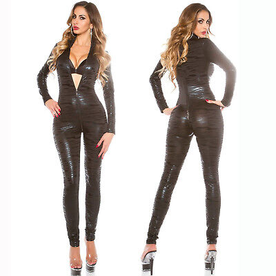 Women's Full Bodysuit Faux Leather Latex Wetlook Sexy Lingerie Leotard Costumes