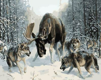 Paint By Number Kit On Canvas Moose vs. Wolves Snowland Painting PZ7093