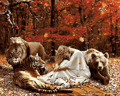 Paint By Number Kit On Canvas Beauty And Beast Lion Tiger Painting PZ7098