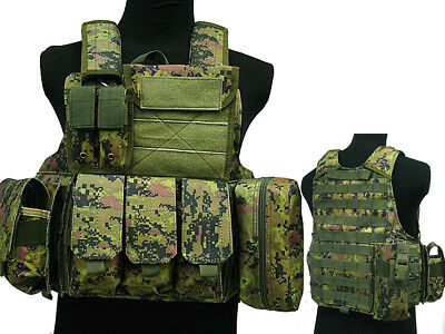 Tactical Military Airsoft Paintball Camo Level 5 Molle Combat Vest WLD Color