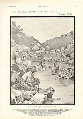 1900 Antique Print- Boer War- Our Soldiers Bathing In The River At Frere