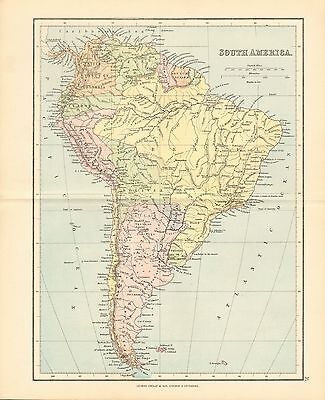 1887 Antique Map- South America